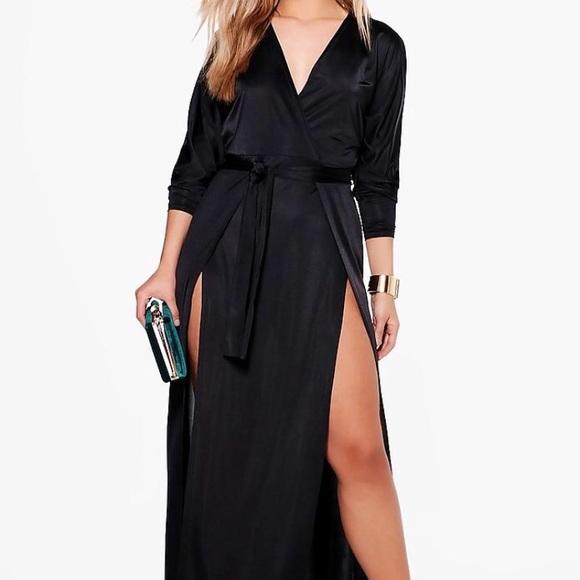 d4874fc02c34 Boohoo Plus Dresses | Verity Slinky Plunge Split Maxi Dress | Poshmark